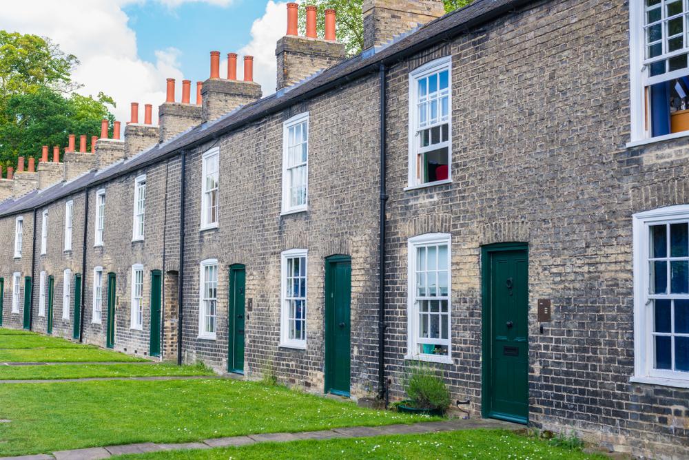 Row of Terraced Starter Houses in the UK